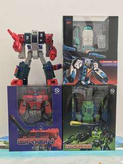 Transformers Toyworld TW-02 Orion TW-H01 Hardbone H-02 Brainwave TW-H04G Grant