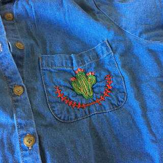 Cactus Embroidered Denim Button Up Shirt