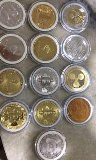Bitcoins / Ethereum / Litecoin / Dash / Ripple / Monero/ Iota - Gold / Silver Plated for sale.