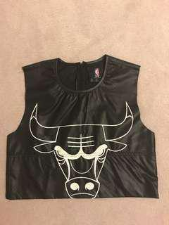 Chicago Bulls Leather Jersey Crop Top.