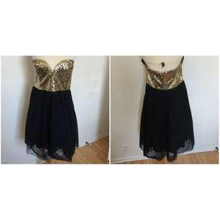 US Brand Charlotte Russe Gold Sequin Bodice and Black Tulle Formal Dress
