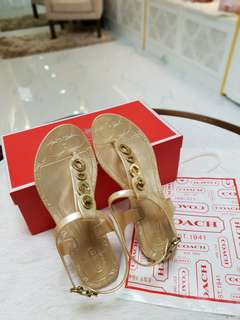 Coach Jelly Sandals Gold S'6 ❤BIG SALE P6500 ONLY❤ Slightly used. Good as new condition  With box and paperbag Swipe for detailed pics