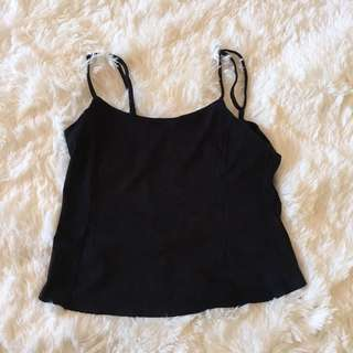 Factorie black suede crop top
