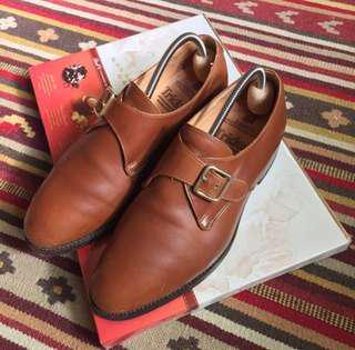 🚚 英國製 Trickers 皮底鞋 手工鞋 monk鞋 學院 古董 古著 復古 咖啡色 皮鞋 英倫 牛津 紳士