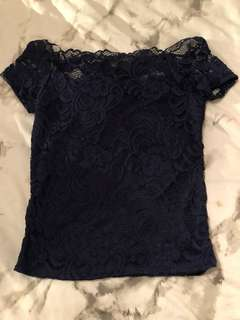 navy lace off the shoulder top
