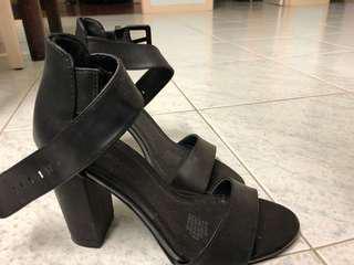 Black thick strap heels