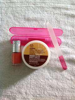 Almond nail butter, nail polish and glass nail file with case. 4 sets available . $10 per set. New. Not used.