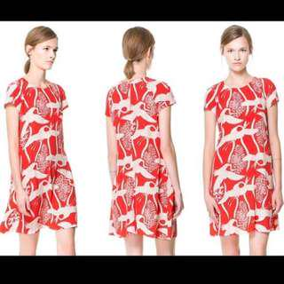 Zara Red Bird Print dress smAll