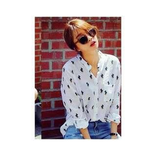 white cactus blouse