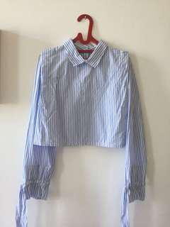 ZARA Blue stripe doll top