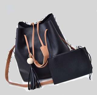 (Ready Stock) Black Bucket Sling Bag with Free Wristlet
