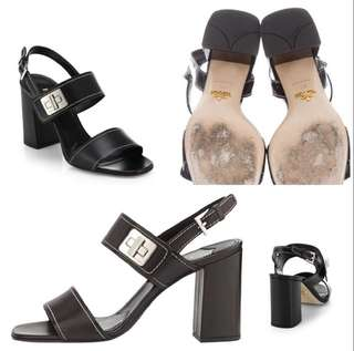 Prada Black Turn-Lock Sandals 38 Classic Block Heel