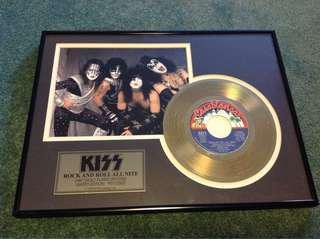 KISS Rock and Roll all nite. 24kt Gold plated record . Limited edition. Framed. $250