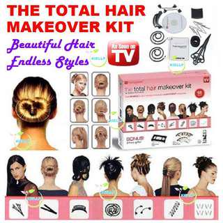 [KIELLP-女人我最大]Hairagami Total Hair Makeover Kit Styling Accessories Hearwear/Creating Endless Hairstyles/Hair Tieup Knot Chigon Clip Bun Ring Bands Curler Rollup Just like Beauty Salon[Cheapest in SG]