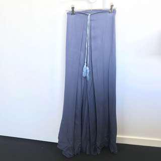 Blue maxi skirt side split