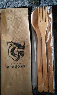 Environmentally Friendly Wooden Spoon, Fork & Knife