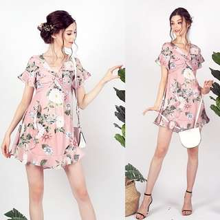 Lovet Mabel Floral Twisted Knot Ruffles Dress (Dusty Pink) M