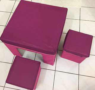 Folderable kids table & storage stools