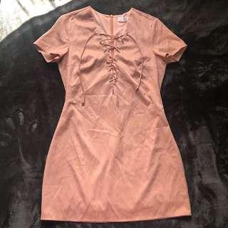 PINK CROSS CORSET MINI T SHIRT SHIFT DRESS SIZE 8