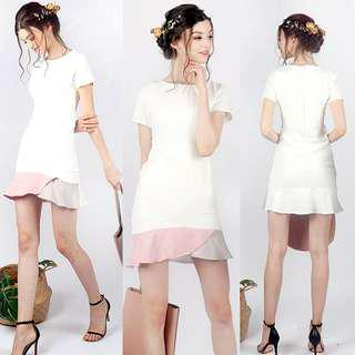 Lovet Phoebe Pastel Colorblock Trumpet Dress (White) S