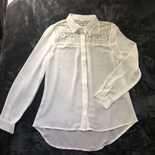 WHITE CHIFFON SEE THROUGH BUTTON UP BLOUSE FLORAL LACE