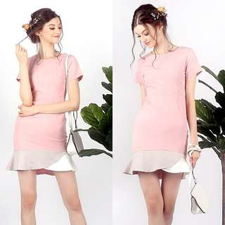 Lovet Phoebe Pastel Colorblock Trumpet Dress (Dusty Pink) S
