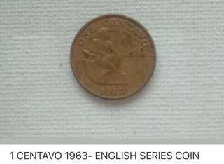 ONE CENTAVO 1963- ENGLISH SERIES COIN