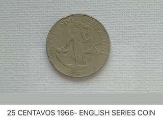 20 CENTAVOS 1966- ENGLISH SERIES COIN