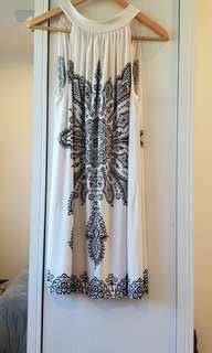 Satin white and black patterned halter neck dress
