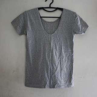 Gray U-neck Plain Top