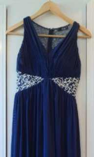 Navy and white ball/formal dress