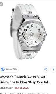 Swatch irony ladies watch with crystals in white