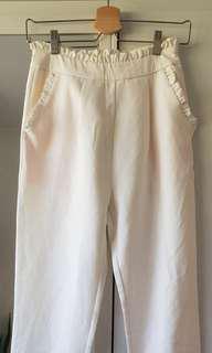White ruffle high waist trousers