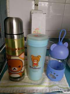 鬆弛熊不锈鋼水瓶 膠水杯 兩個