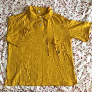 mustard yellow plain polo button up shirt top