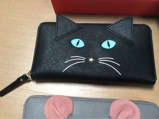 Authentic Kate spade black wallet meow limited addition