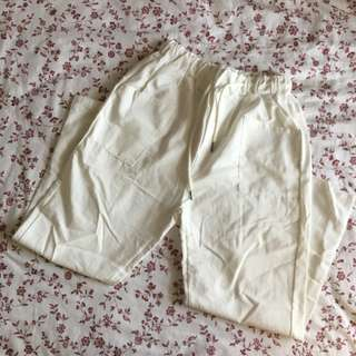white plain long pants with strings pockets
