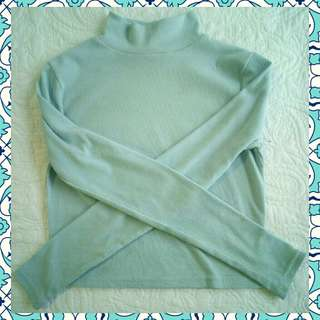 Ribbed Baby Blue Mock Turtle Neck Top