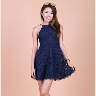 Topazette Mae Crochet Lace Navy Dress