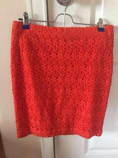 Forever 21 lace pencil skirt (Orange)