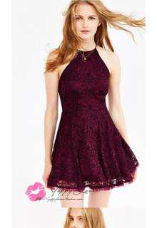 🚚 Wine red maroon lace crochet bare back halter dress