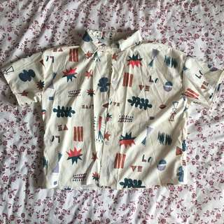 button up cute graphic artsy top