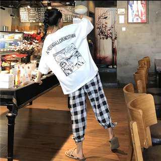 🚚 全新🦄寬鬆短袖顯瘦T+格子休閒褲