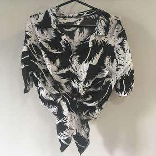 Black Vintage Collar Palm Trees Leaves Tropical Hawaiian Button Down Top [SOLD]