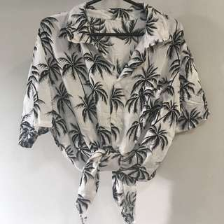 White Vintage Collar Palm Trees Leaves Tropical Hawaiian Button Down Shirt [SOLD]