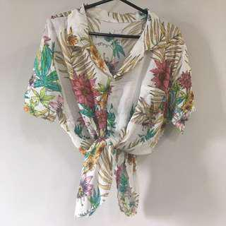 Vintage Floral Tropical Hawaiian Button Down Blouse [SOLD]