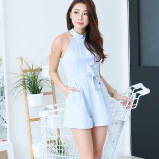 Topazette Dusty Blue Yve Tailored Romper