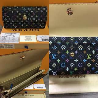 642b94053b2 Authentic Quality Louis Vuitton Multicolor Sarah Long Wallet with Credit  Card Slots LV Monogram Collections BLACK