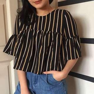 Stripes Ribbon Crop Top