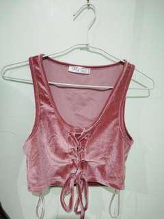 Velvet pink crop top